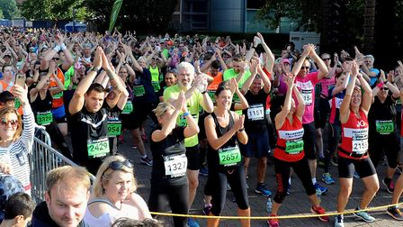 Runners taking part in the mass warm-up before the start of last year's Simplyhealth Great East Run