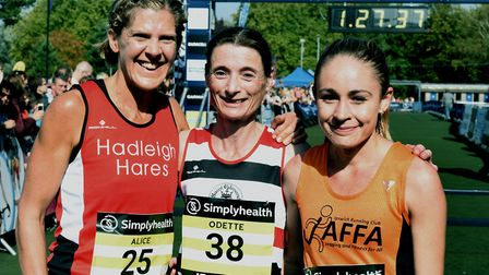 The top three ladies at last year's Simplyhealth Great East Run, from left: Alice Heather-Haynes, wi