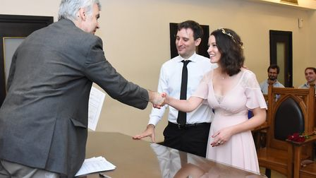 The happy couple on their wedding day in Argentina in March Picture: SUPPLIED BY FAMILY