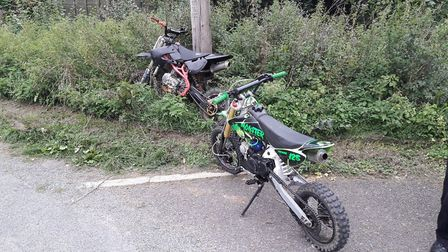 Two bikes were seized after the riders were caught chasing sheep on a farm. Picture: RURAL CRIME SUF