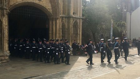 Crowds gathered on the Angel Hill in Bury St Edmunds to see the RAF parade to commemorate the Battle