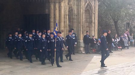 RAF personnel were accompanied by the USAF Honor Guard and led by the volunteer band of RAF Honingto