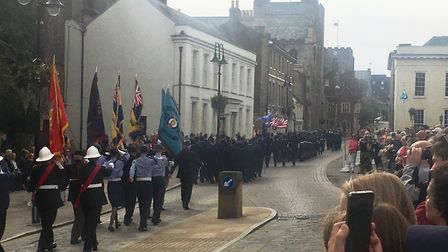 Crowds gathered to see the parade, which began in the Abbey Gardens Picture: MICHAEL STEWARD