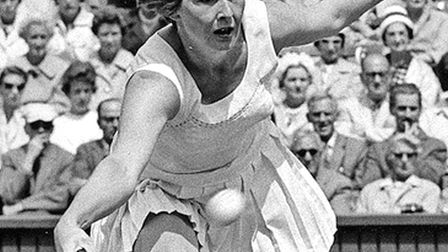 Christine Truman playing at Wimbledon in the 1950s. Picture: ARCHANT ARCHIVE