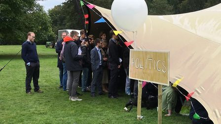 Nearly 2,000 people attended the Big Tent Ideas Festival at Babraham Hall near Cambridge - with peop
