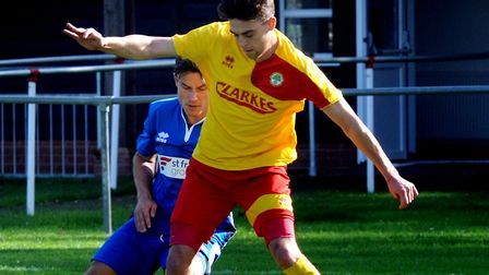Ryan Clarke played a key role for Walsham in their 2-2 draw with FC Clacton. Picture: ANDY ABBOTT