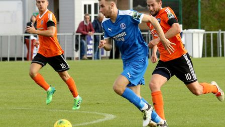 Dominic Docherty scored Leiston's leveller in the FA Cup. Picture: JOHN HEALD