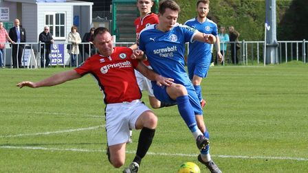 Christy Finch, right, was on target for Leiston. Photo: JOHN HEALD