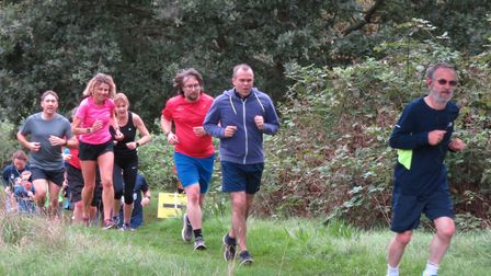 Runners covering the weekly 5K course at the Ipswich parkrun, held at Chantry Park. Picture: IPSWICH