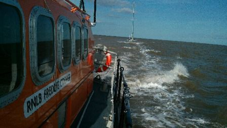 Aldeburgh RNLI's Freddie Cooper all-weather lifeboat was called-out to rescue a yacht in difficulty