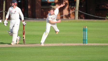 James Poulson, bowling, who scored 17 at the end of Sudbury's innings and then took one for 41 in th
