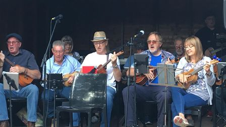 The Stowmarket Strummers perform at Gig at the Glad, a charity gig at the Gladstone Arms in Combs Fo