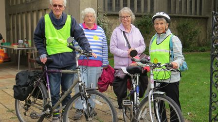 Cyclists Mike and Sheila Norris from Wickham Market, met walkers Marian Peskett and Pat Carter from