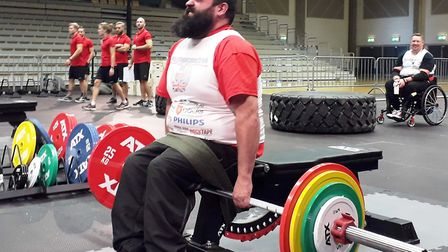 Chris Rix competes at the World Disabled Strongman Championships in Norway Picture: KEN WATKINS