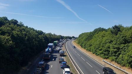 There are tailbacks on the A12 Londonbound following an overturned vehicle Picture: LAUREN HOCKNEY