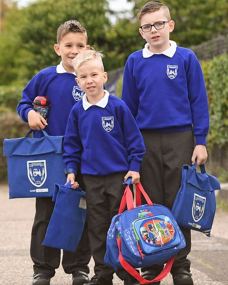 Four year old Alexander Pickering arrives at Engaines Primary School in Little Clacton for his first