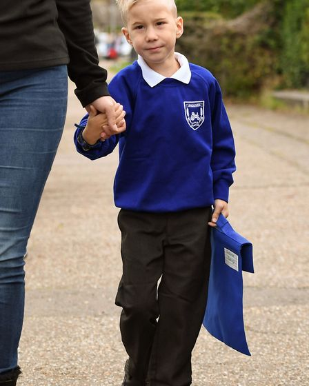 Four-year-old Alexander Pickering, known as Xander, on his way to school Picture: Joe Giddens/PA Wir