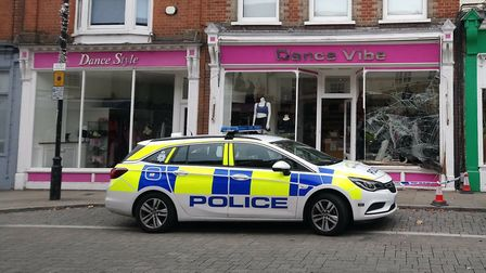 The vehicle collided with the Dance Vibe shopfront, smashing the display window Picture: KATY SANDAL