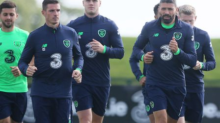 Jone Walters, right, pictured during at Ireland training session at Abbotstown. Picture: PA