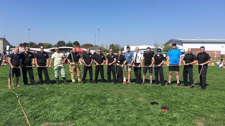 The tug-of-war at the joint police and fire service day in Newmarket Picture: SUFFOLK CONSTABULARY