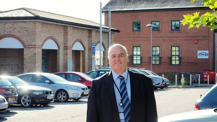 Mid Suffolk District Council leader Nick Gowrley outside the former Aldi store in Stowmarket which t