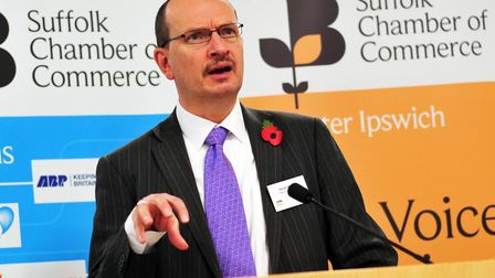 Sandy Martin MP speaking at the Suffolk Chamber in Greater Ipswich Networking Brunch with Sandy Mart
