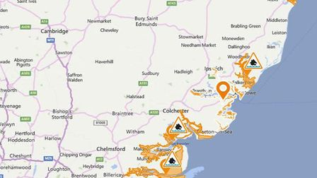 Map showing areas where a flood alert is in place Picture: ENVIRONMENT AGENCY