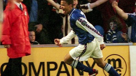 Kieron Dyer celebrates scoring against Bolton in the play-offs in 1999