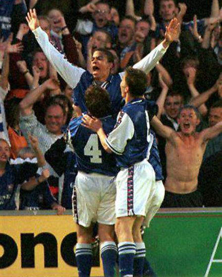 Kieron Dyer celebrates scoring for Ipswich Town against Bolton Wanderers in the 1999 play-off semi-f