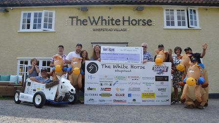 The team from The White Horse, in Whepstead, who took part in theMy WiSH Charity's Soapbox Challenge