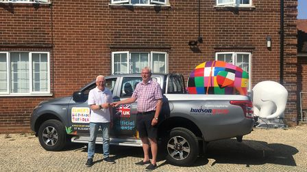 Graham Shemmings, of Homestyle UK, leased a truck to transport Elmer around Ipswich Picture: ST ELIZ