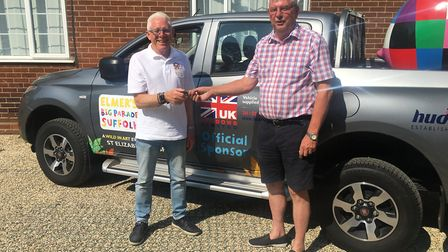 Graham Shemmings, of Homestyle UK, with Normal Lloyd, project manager for Elmer's Big Parade Suffolk