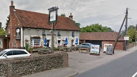 The accident happened near to the White Horse in Great Waldingfield Picture: GOOGLE