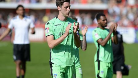 Luke Prosser, applauding the U's travelling fans at Exeter City on the final day of last season. Pic