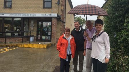Bury St Edmunds MP Jo Churchill with constituents in Gislingham, which has been without a post box f