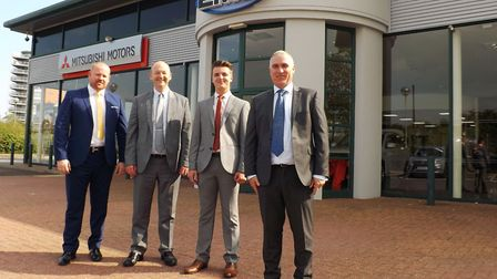 The new EMG Mitsubishi dealership in West End Road. Left to right, dealer principal Richard Buffrey,