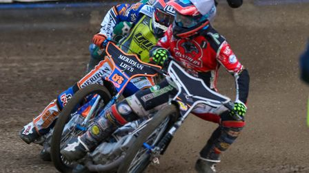 Scott Nicholls charges inside Kyle Newman in the opening heat. Picture: Steve Waller www.steph