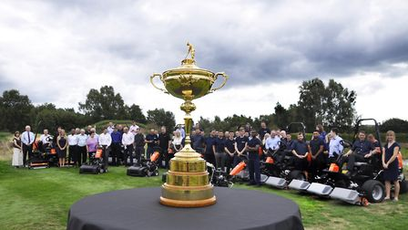 The Ryder Cup on displayat Ransomes Jacobsen in Ipswich