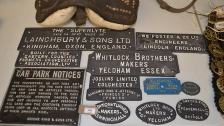 Some artefacts from the Toppesfield Museum of the Working Horse which will go on sale through Clarke