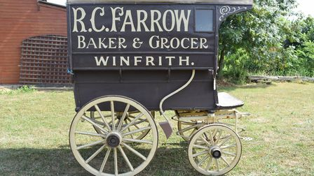 A four wheel bakers van - one of the artefacts from the Toppesfield Museum of the Working Horse whic