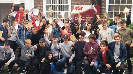 Students celebrate their GCSE results at King Edward VI School in Bury St Edmunds Picture: MICHAEL S