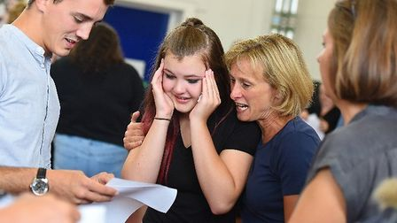 Tears of joy as students at Ixworth Free School open their GCSE grades Picture: GREGG BROWN