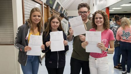 Jessica Talbot (far right) with fellow students at Mildenhall College Academy