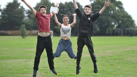Zander Simpson, Sydnee Nicholas and Billy Pearce celebrate their GCSE results Picture: SARAH LUCY