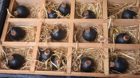 Old grenades at the Ipswich Maritime Festival at the Waterfront. Picture: DENISE BRADLEY