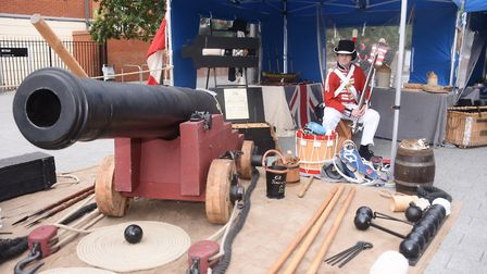 Greg Daley of the Deeds of Arms military group at the Ipswich Maritime Festival at the Waterfront. P