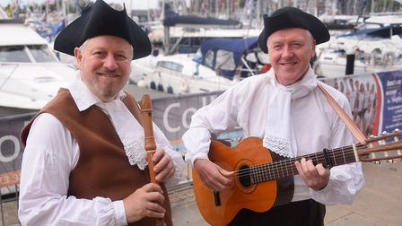 Paul Baker, left, and Brian Perkins of Diabolus In Musica at the Ipswich Maritime Festival at the Wa