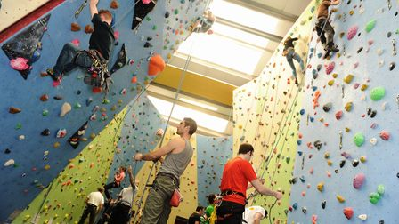 Cragg climbing wall at Mid Suffolk Leisure Centre Picture: LUCY TAYLOR