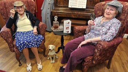 Glastonbury Court Residents Olive Unwin and Mary Scates in the New Sherlock Holmes Room. Picture: LU