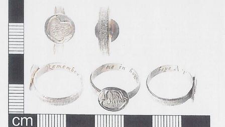 """The gold 'posy' ring which is inscribed with the words: """"remember me in hope AT"""" Picture: ESSEX CORO"""